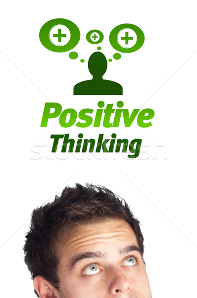 Jungen Kopf schauen positive negative Zeichen Stock foto © ra2studio