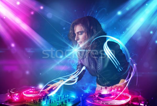 Energético nina música potente efectos de luz fiesta Foto stock © ra2studio