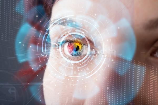 Stockfoto: Toekomst · vrouw · technologie · oog · paneel · business