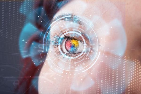 Stok fotoğraf: Gelecek · kadın · teknoloji · göz · panel · soyut