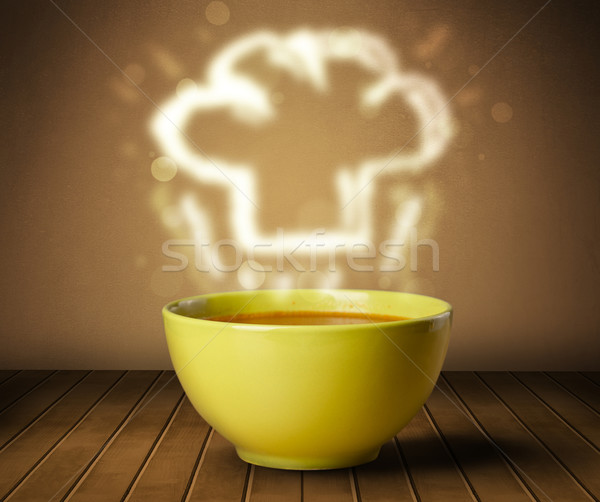 Steam From Soup ~ Bowl of soup with chef cook hat steam illustration stock