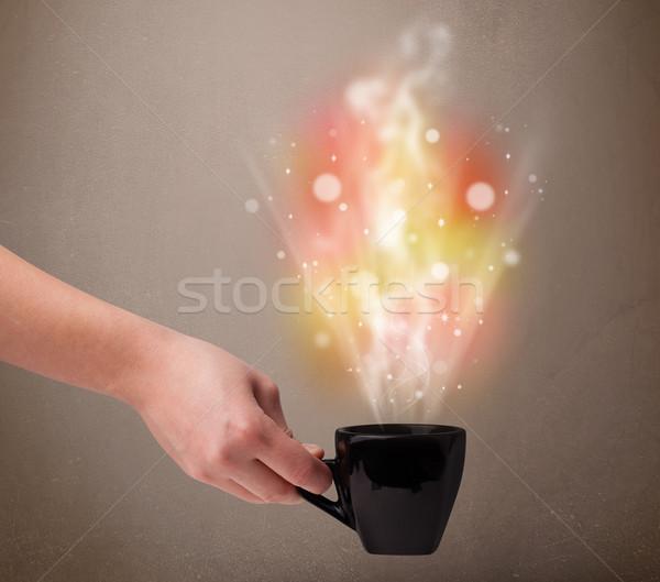 кружка кофе аннотация пар красочный фары Сток-фото © ra2studio