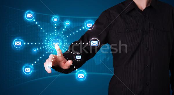 Empresario virtual mensajería tipo iconos Foto stock © ra2studio