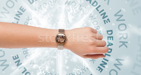 Clocks with work and deadline round writing Stock photo © ra2studio