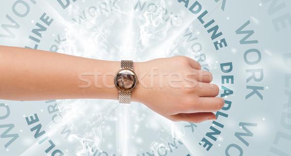 Stockfoto: Klokken · werk · termijn · schrijven · vergadering · zakenman