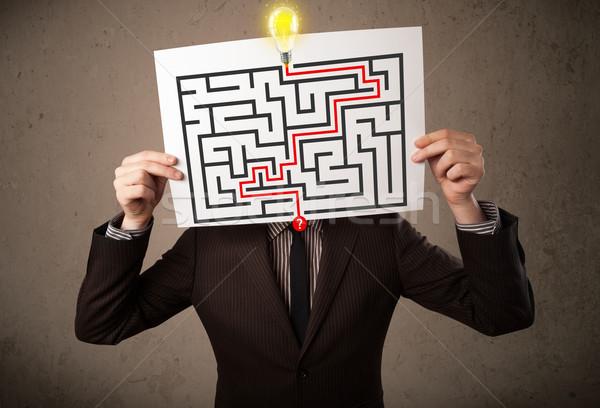 Empresário papel labirinto jovem homem Foto stock © ra2studio