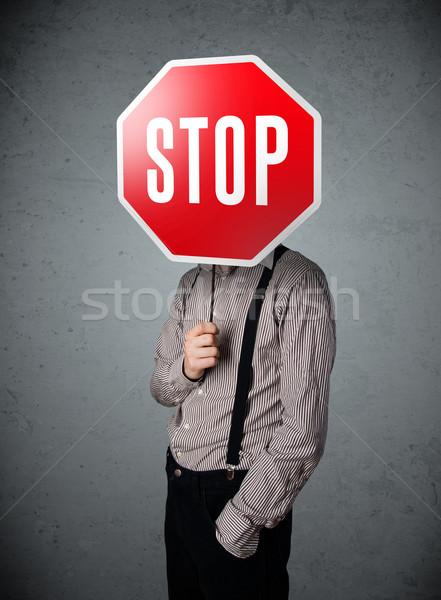 Işadamı dur işareti ayakta kafa el Stok fotoğraf © ra2studio