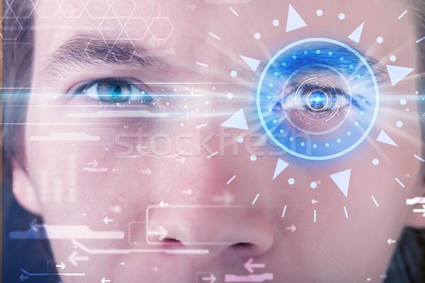 человека глаза глядя синий Iris современных Сток-фото © ra2studio