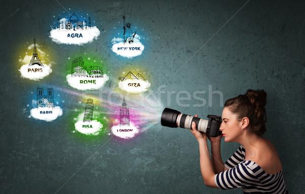Turísticos fotógrafo famoso alrededor Foto stock © ra2studio