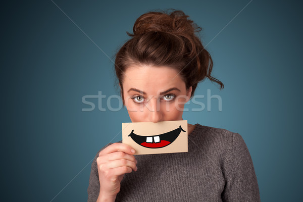 Zdjęcia stock: Szczęśliwy · pretty · woman · karty · funny