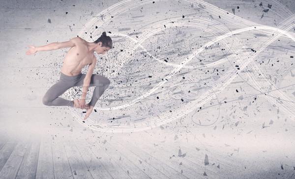 パフォーマンス バレエダンサー ジャンプ エネルギー 爆発 粒子 ストックフォト © ra2studio