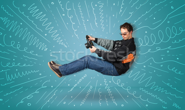 Komik adam hayali araç hatları Stok fotoğraf © ra2studio