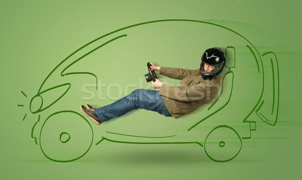 Homme eco électriques dessinés à la main voiture feuille Photo stock © ra2studio