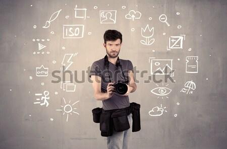 Fotógrafo aprendizagem câmera amador profissional Foto stock © ra2studio