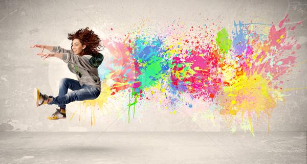 счастливым подростку прыжки красочный чернила Splatter Сток-фото © ra2studio