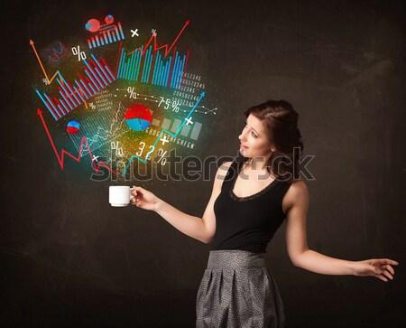 Empresária branco copo diagramas gráficos Foto stock © ra2studio