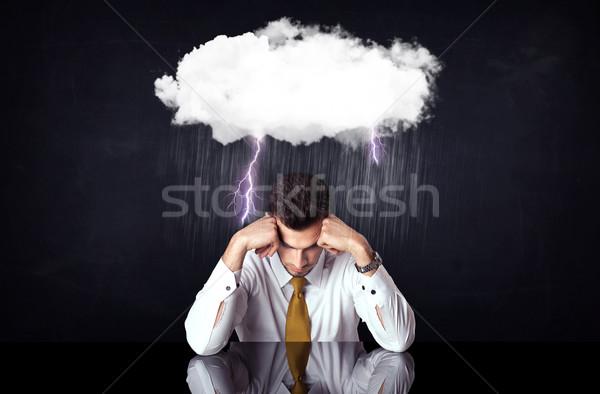 Depresji biznesmen posiedzenia Chmura pioruna deszczowy Zdjęcia stock © ra2studio