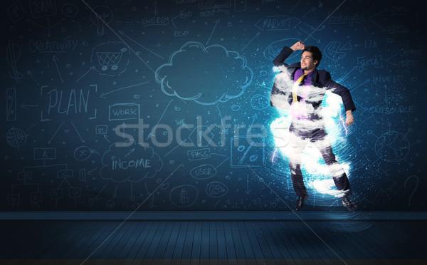 Gelukkig zakenman springen storm wolk rond Stockfoto © ra2studio
