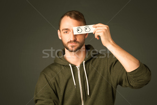 Stupido uomo guardando occhi Foto d'archivio © ra2studio
