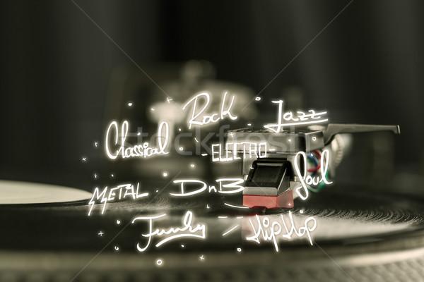 Turntable vinyle musique métal plaque noir Photo stock © ra2studio