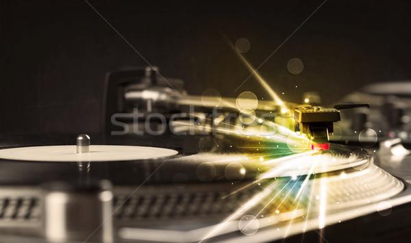 Музыкальный плеер играет виниловых свечение линия необходимость Сток-фото © ra2studio