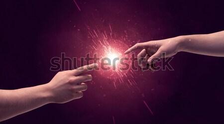 прикасаться рук свет вверх пространстве Сток-фото © ra2studio