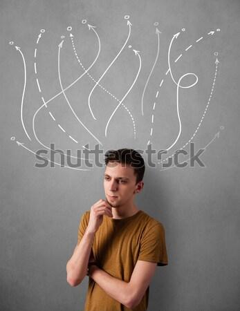 возбужденный Extreme рисованной линия лице Сток-фото © ra2studio