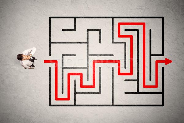 失わ ビジネスマン 方法 迷路 赤 矢印 ストックフォト © ra2studio