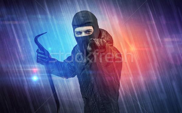 Stockfoto: Inbreker · actie · kleurrijk · hand · muur · achtergrond