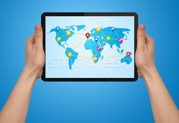 Férfi kéz tart modern touchpad társasági Stock fotó © ra2studio