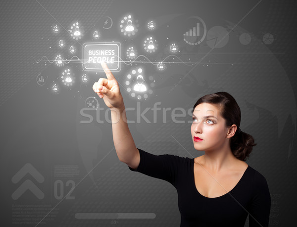 деловая женщина современных бизнеса тип Кнопки Сток-фото © ra2studio