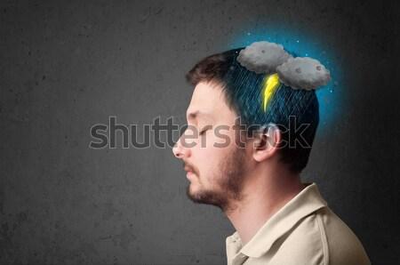 Adam sağanak yıldırım kafa gökyüzü grup Stok fotoğraf © ra2studio