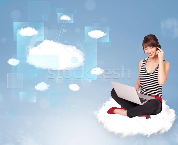 幸せな女の子 見える 現代 クラウドネットワーク 幸せ 若い女の子 ストックフォト © ra2studio