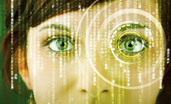 ストックフォト: 現代 · 女性 · 行列 · 眼 · 抽象的な · 技術