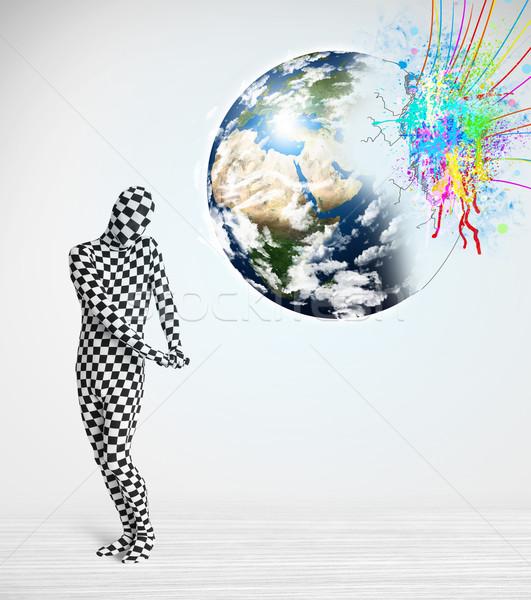 Grappig man lichaam pak naar kleurrijk Stockfoto © ra2studio