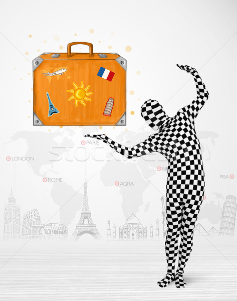 Férfi egészalakos öltöny bemutat vakáció bőrönd Stock fotó © ra2studio