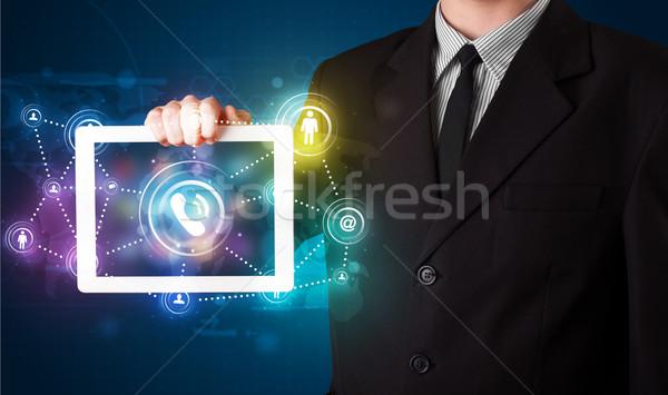Giovani imprenditore sociale networking tecnologia Foto d'archivio © ra2studio