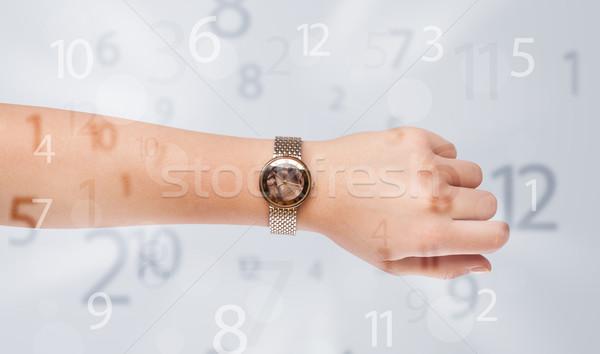 Hand horloge nummers kant uit business Stockfoto © ra2studio