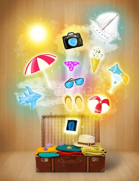 Toeristische zak kleurrijk zomer iconen symbolen Stockfoto © ra2studio