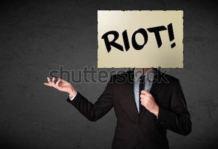 Affaires protestation signe démonstration bord Photo stock © ra2studio