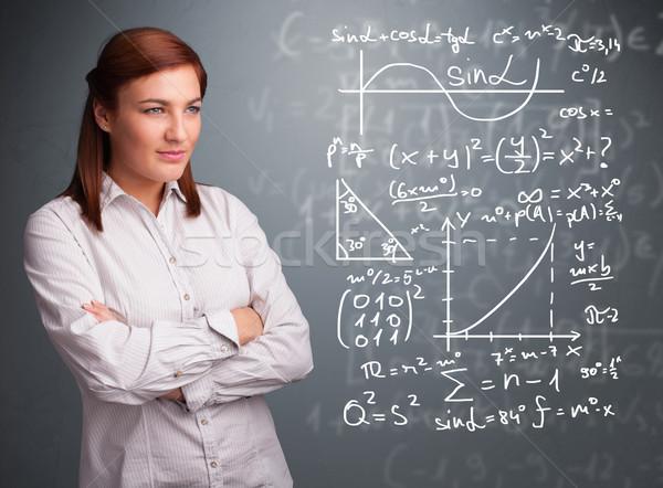 Hermosa pensando complejo matemático signos Foto stock © ra2studio