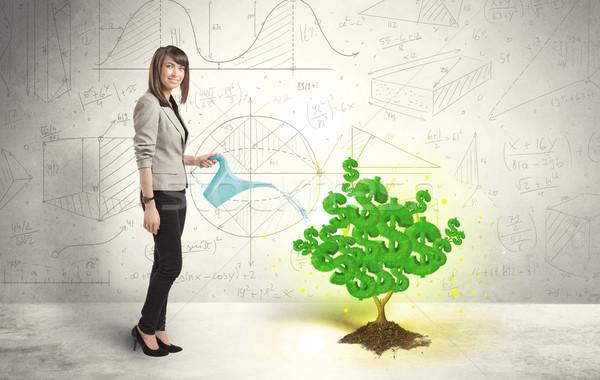 Mulher de negócios crescente verde cifrão árvore Foto stock © ra2studio