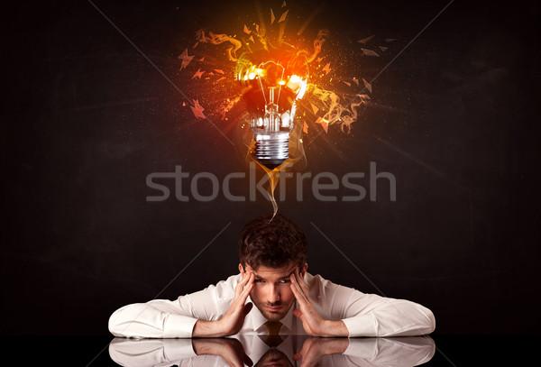 бизнесмен сидят Идея лампа депрессия Сток-фото © ra2studio