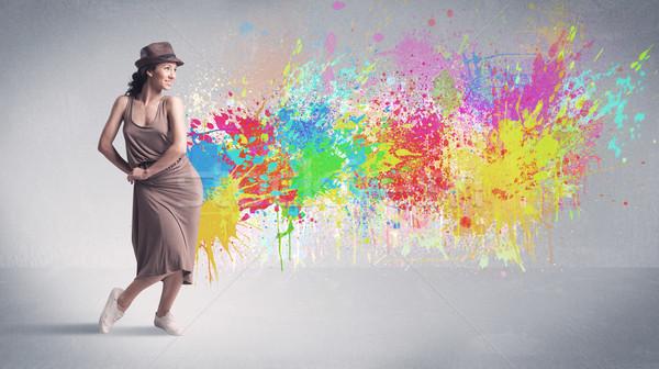小さな カラフル 通り ダンサー 塗料 スプラッシュ ストックフォト © ra2studio