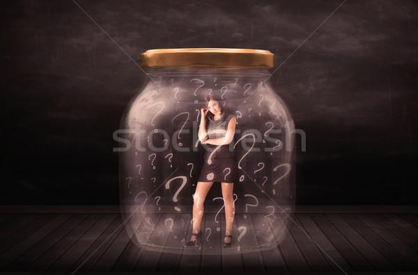деловая женщина заблокированный банку стекла печально Сток-фото © ra2studio