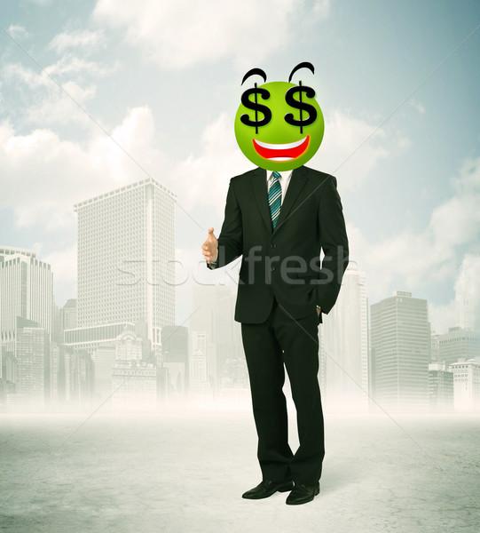 Hombre signo de dólar cara sonriente empresario dinero sonrisa Foto stock © ra2studio