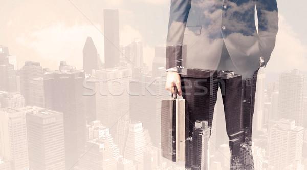 ハンサム ビジネスマン 景観 オフィス 男 市 ストックフォト © ra2studio