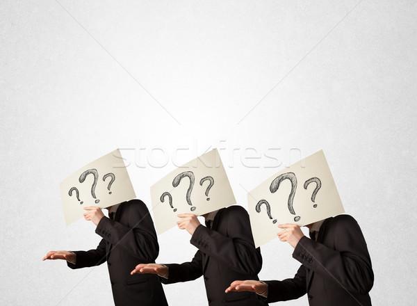 Zavart férfiak hivatalos gesztikulál kérdőjelek jóképű Stock fotó © ra2studio