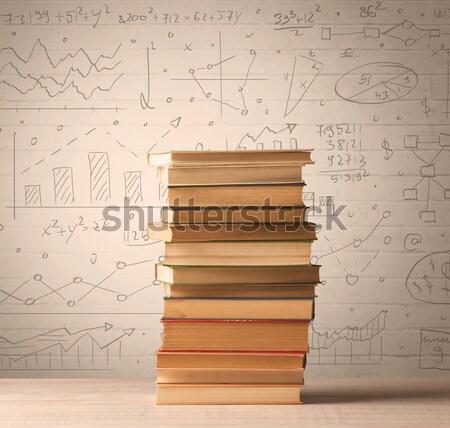 Livres mathématiques formules écrit doodle Photo stock © ra2studio