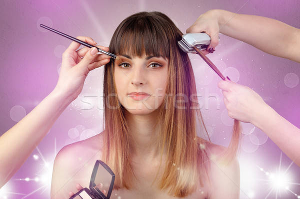 Young woman portrait with shiny pink salon concept Stock photo © ra2studio